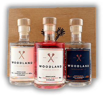 Woodland 3er Holzbox a. 0,05 Liter Dry Gin, Pink Gin, Navy Strength